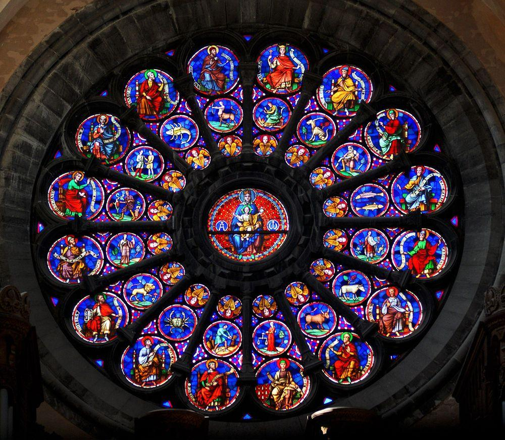 Stained gloss of the rose window, Tournai Cathedral
