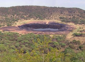 Tswaing crater with the saline lake in it, South Africa