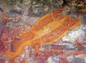 Ubirr in Northern Australia, turtle in X-ray style