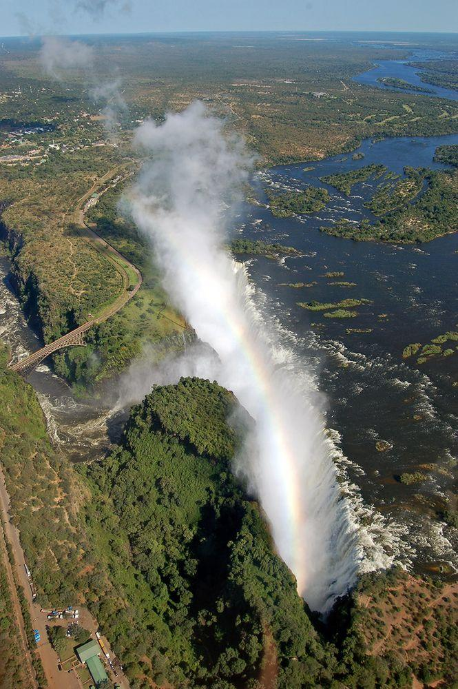 Victoria Falls from air. Zambian part in the forefront, Zimbabwe is in the other side of Zambezi