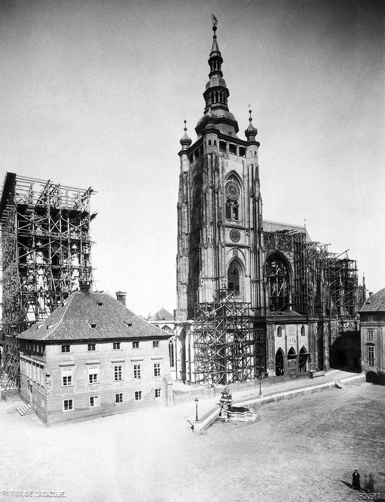 Construction of St. Vitus Cathedral in 1887, Prague