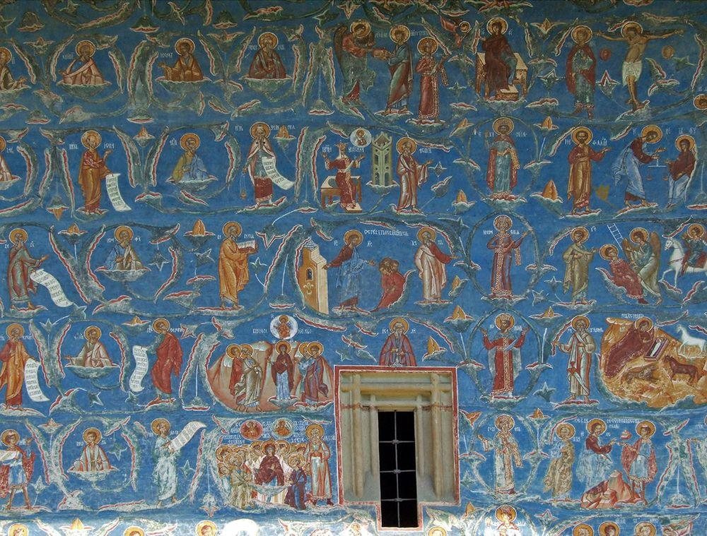 Frescoes on the walls of Saint George Church in Voronet Monastery, Romania