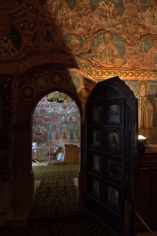 Interior of the Saint George Church in Voronet Monastery, Romania