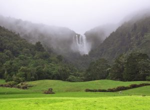 Wairere Falls from road, New Zealand
