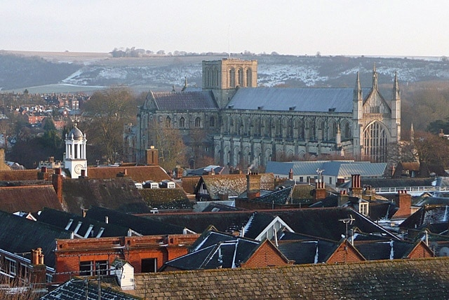 Winchester Cathedral rising above the city