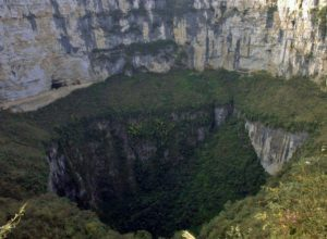 World's deepest sinkhole - Xiaozhai tiankeng, with tourist route visible