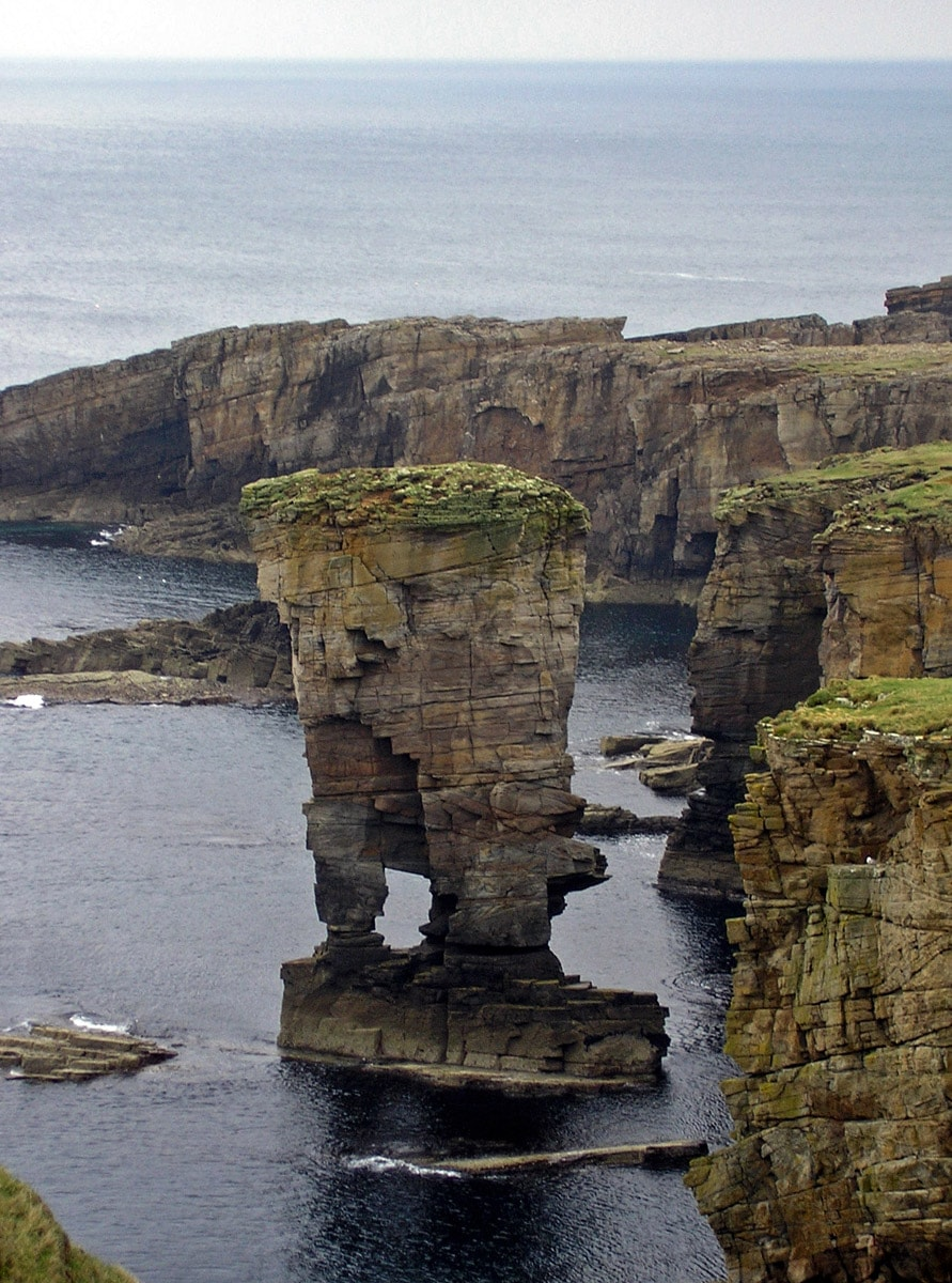 Yesnaby Castle, western coast of Mainland in Orkney Islands
