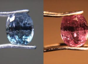 Color change of the unique Bekily blue garnet
