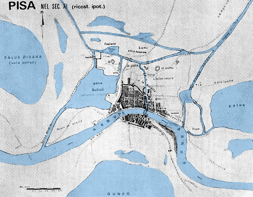 Hypothetical map of Pisa in the 11th century. Cathedral is to the north-west from the city center