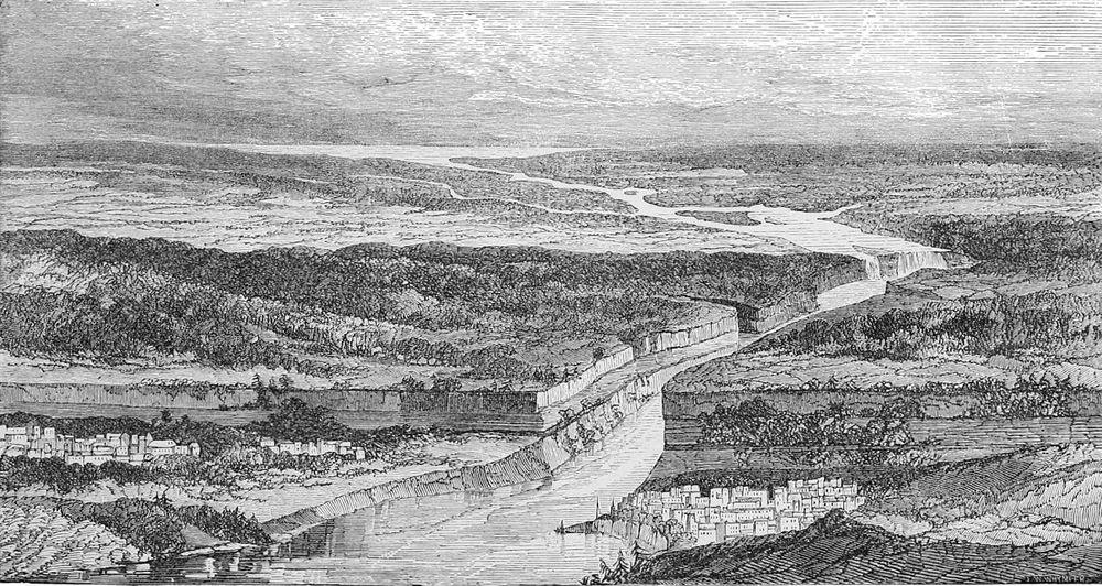 Schematic drawing of Niagara Escarpment and Niagara Falls