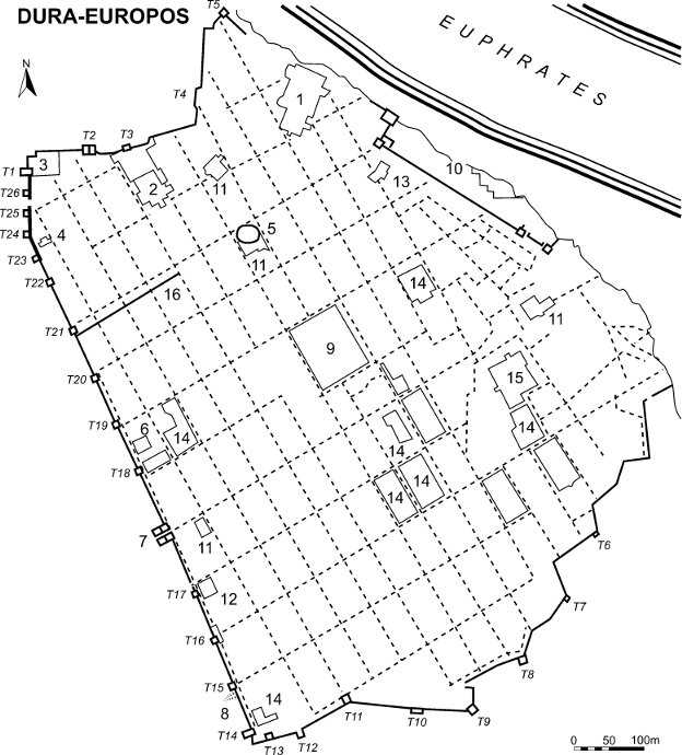 Plan of Dura-Europos. The church is marked with 12.