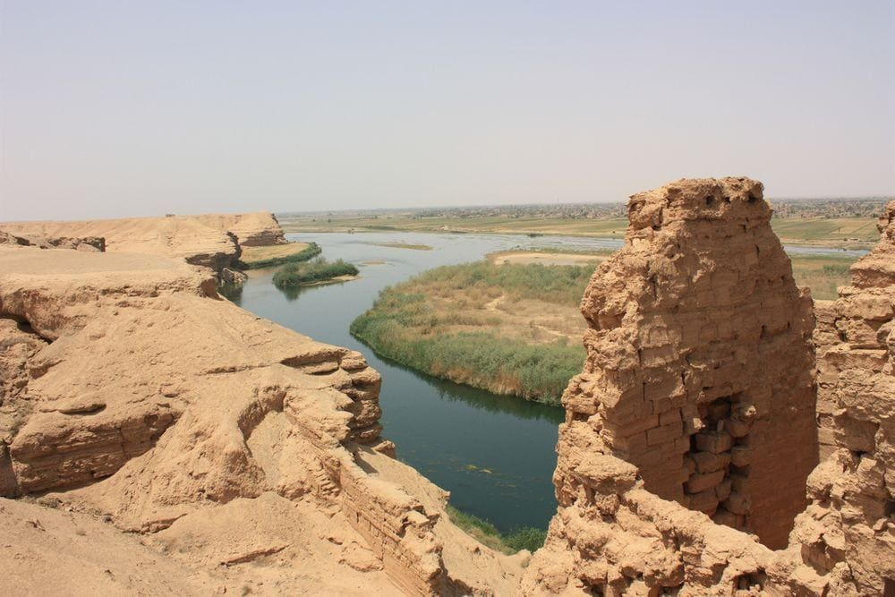Dura-Europos ruins over Euphrates