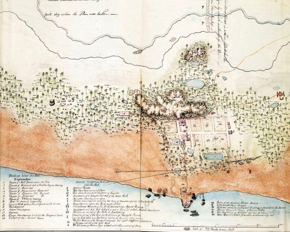 Map of Mahabalipuram, 1808. Shoals - submerged temples - are seen.