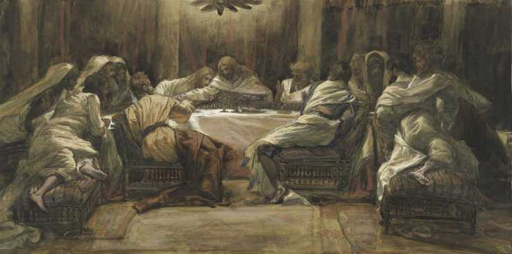 The Last Supper: Judas Dipping his Hand in the Dish. Painting by James Tissot