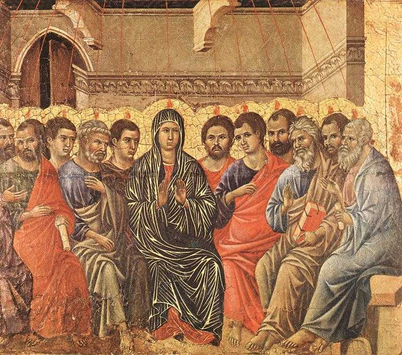 Pentecost - descent of Holy Spirit on apostles. Duccio di Buoninsegna around 1310