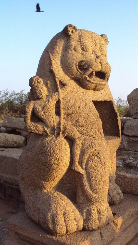 Sculpture of Durga at the Shore temple, Mahabalipuram