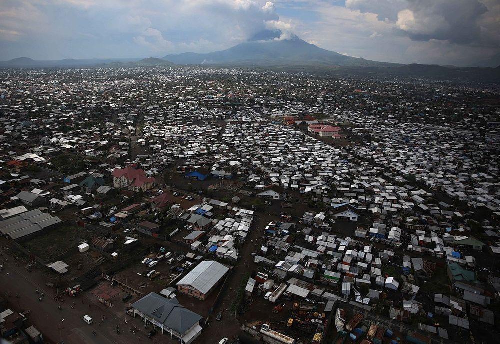 Goma city and Mount Nyiragongo