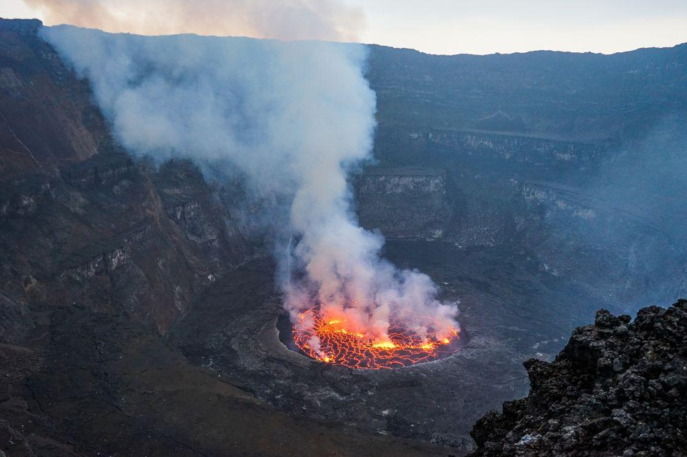 Mount Nyiragongo, crater and lava lake