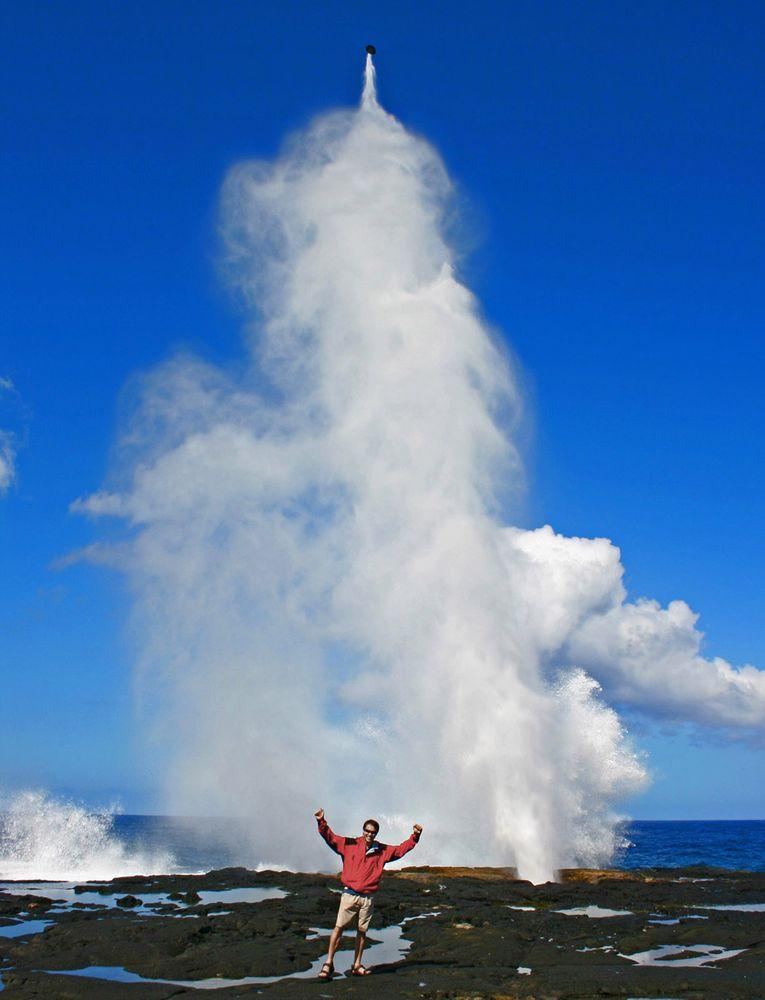 Alofa'aga Blowholes in Samoa. The coconut is blown up in the air