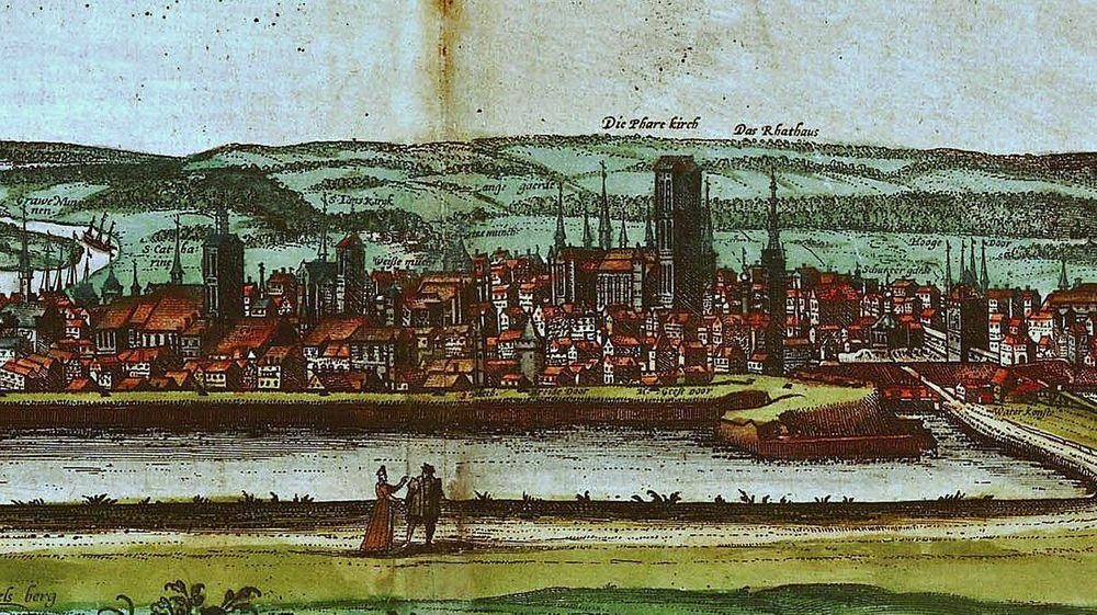 Gdańsk around 1575 with St. Mary's Church dominating the skyline