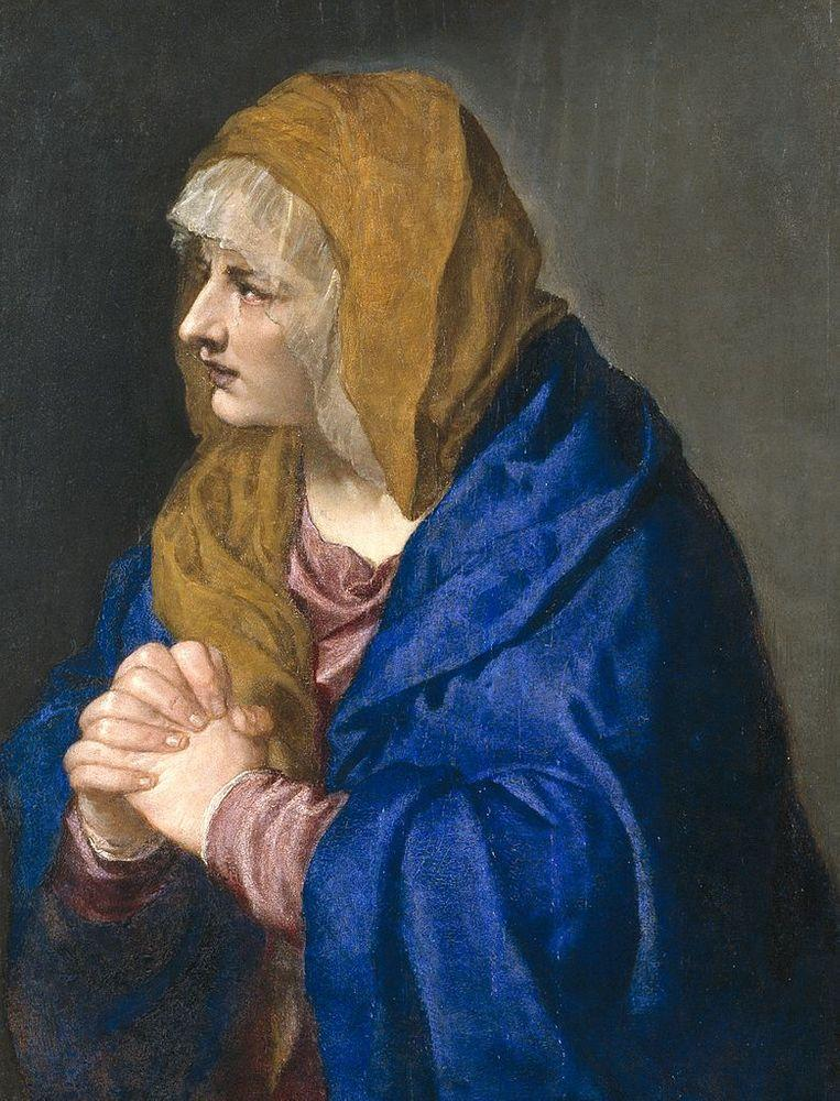 Mater Dolorosa by Titian, 1554. Ultramarine color - ground lapis lazuli from Sar-i Sang.