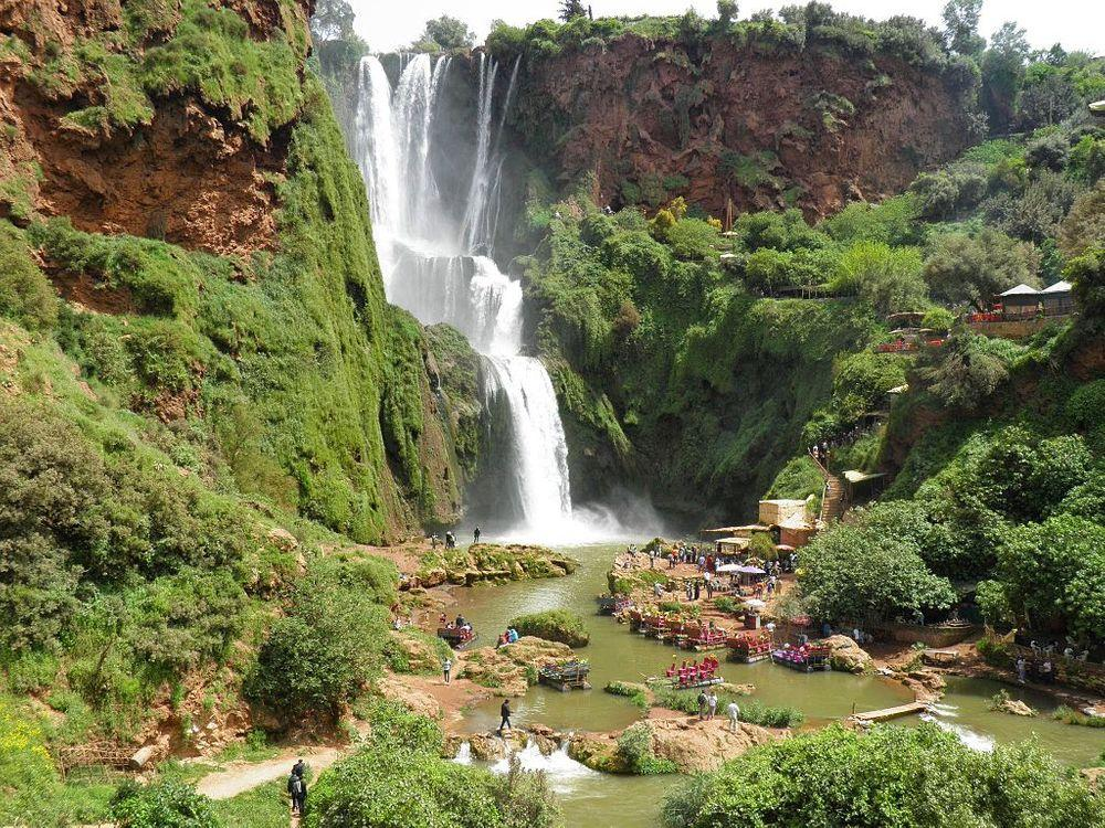 Tourists at the Ozoud Falls