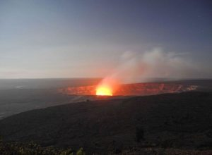 Glow of the lava lake in Halemaumau Crater