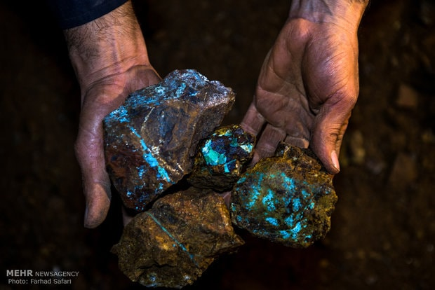 Freshly mined turquoise in Nishapur mines