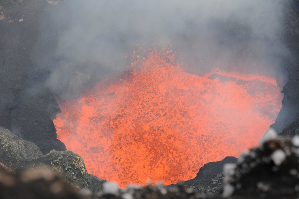 Lava lake in Mbwelesu Crater, August 2010
