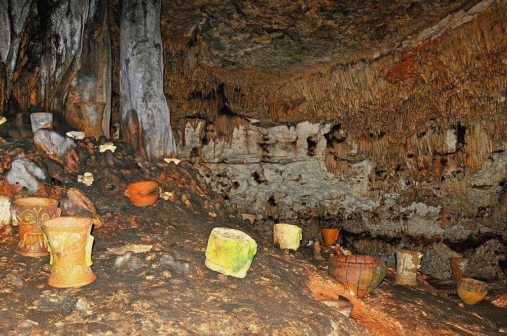 Balankanche Cave with Maya offerings