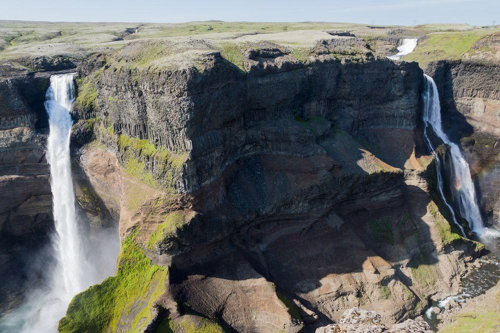 Háifoss to the right and Granni - to the left