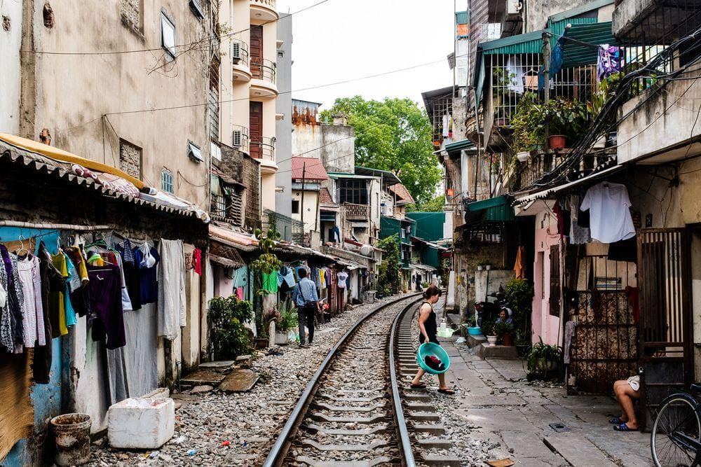 Train street in Old Hanoi