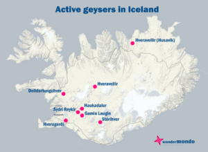 Geysers of Iceland on the map