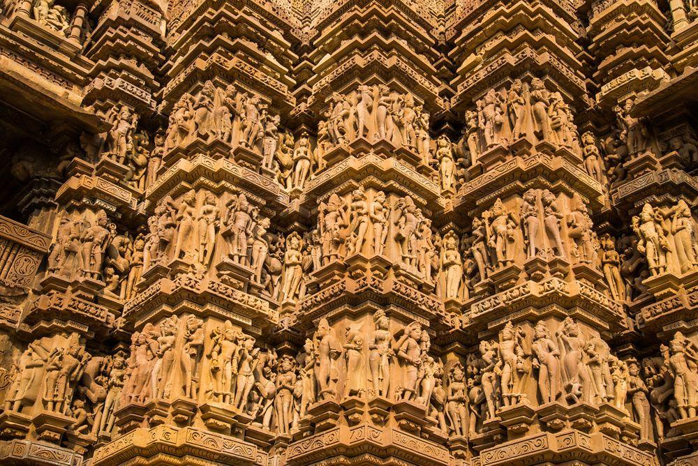 Sculptures in one of Khajuraho temples