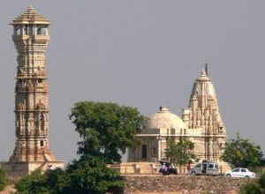 Kirti Stambh and Jain shrine in Chittor Fort
