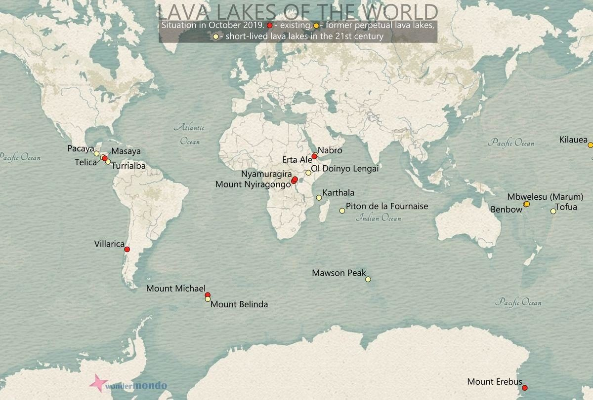 Lava lakes of the world in 2019