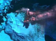 Mount Belinda eruption in September 2005, MODIS false color image