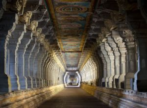The famous corridor of Rameswaram Temple