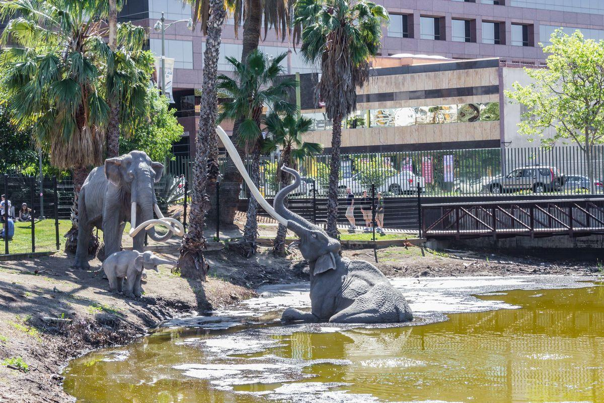 La Brea Tar Pits with sculptures