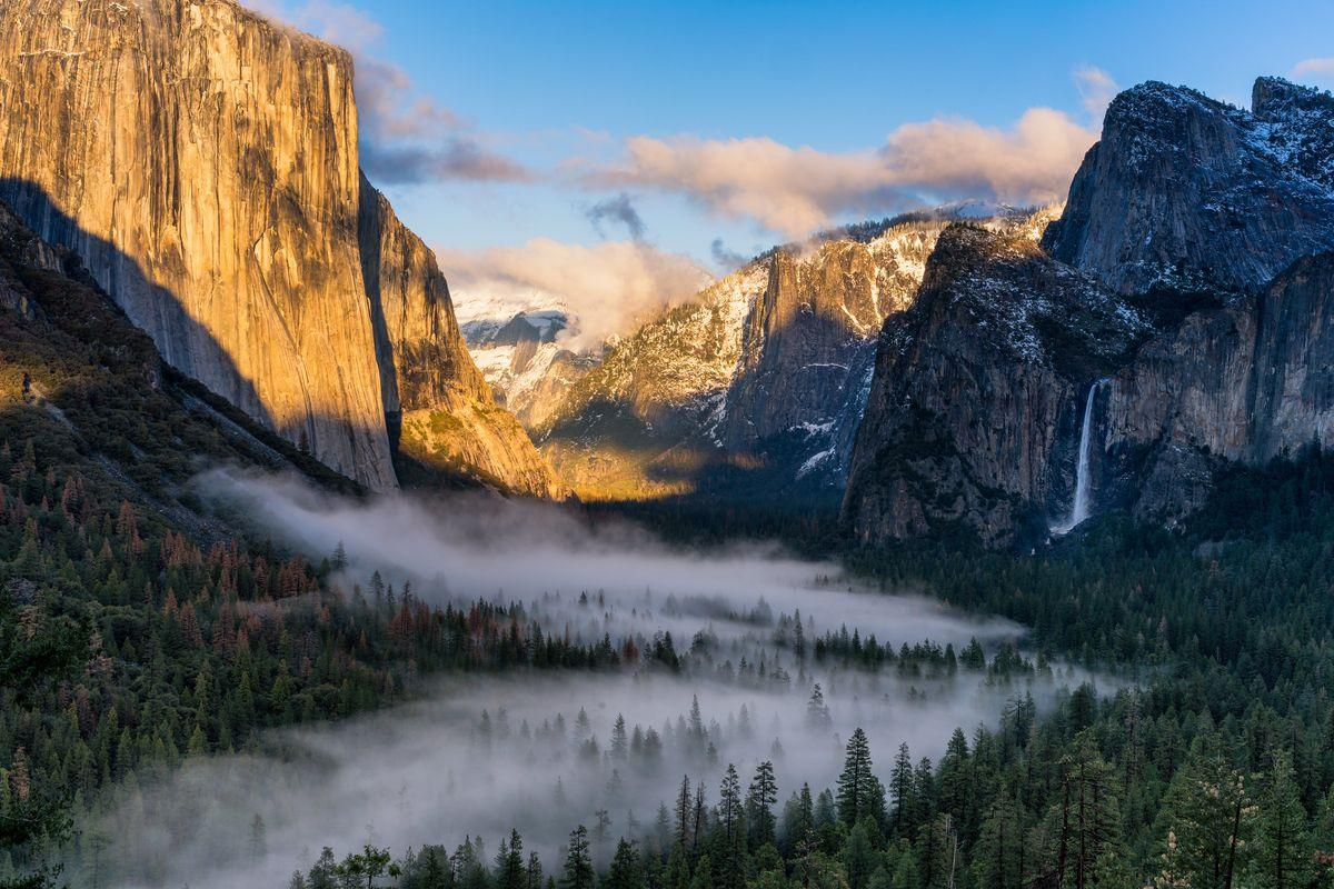 Yosemite Valley with Bridalveil Falls - one of the wonders of the United States