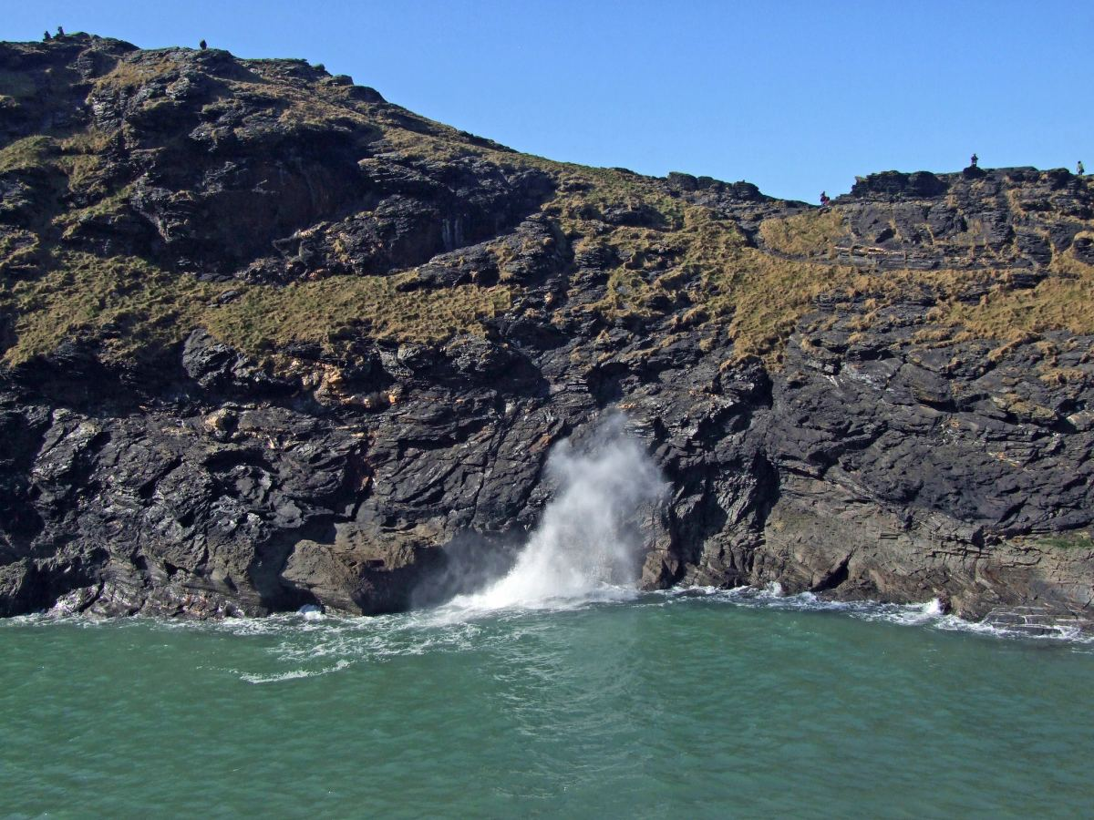 Boscastle Blowhole at comparatively calm sea