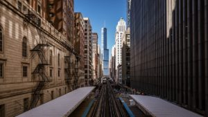 Streetscape in Chicago Loop